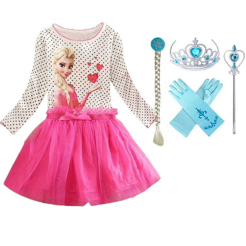 ใหม่ Elsa ชุดแขนยาวเครื่องแต่งกายหญิง snow queen คอสเพลย์ชุดมงกุฎเจ้าหญิง Anna สาวฮาโลวีนเสื้อผ้า vestidos infantis