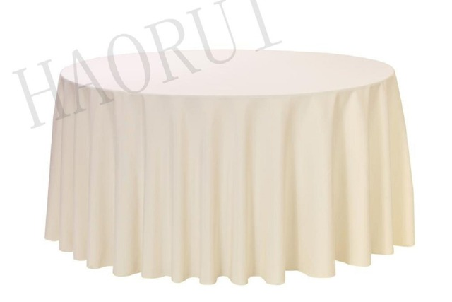 10pcs Customize Table Cover Polyester Cotton Fabric 90 Round Ivory Luxury Dining Tablecloths Weddings