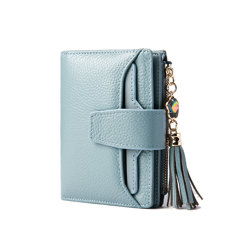2020 Fashion Luxury Women Short Wallet Genuine Leather Tri-fold Purse Diamond Tassel Zipper Cowhide Money Bag GIft For Gilr Lady
