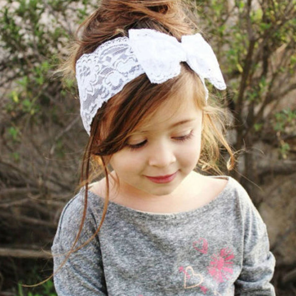 Cute Girl Headband Long Lace Ribbon Flower Hairband Kids Hair Accessories ZY