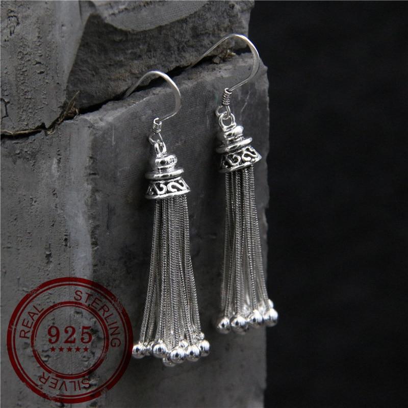 S925 Sterling Silver Earrings Women's Temperament Long Tassels Thai Silver Fashion Earrings Gifts