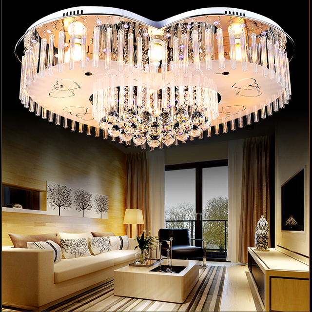 Heart Shaped Ceiling Lights Bedroom Modern Simple Warm Children Room Lighting Creative Crystal Lamps Living Sj8