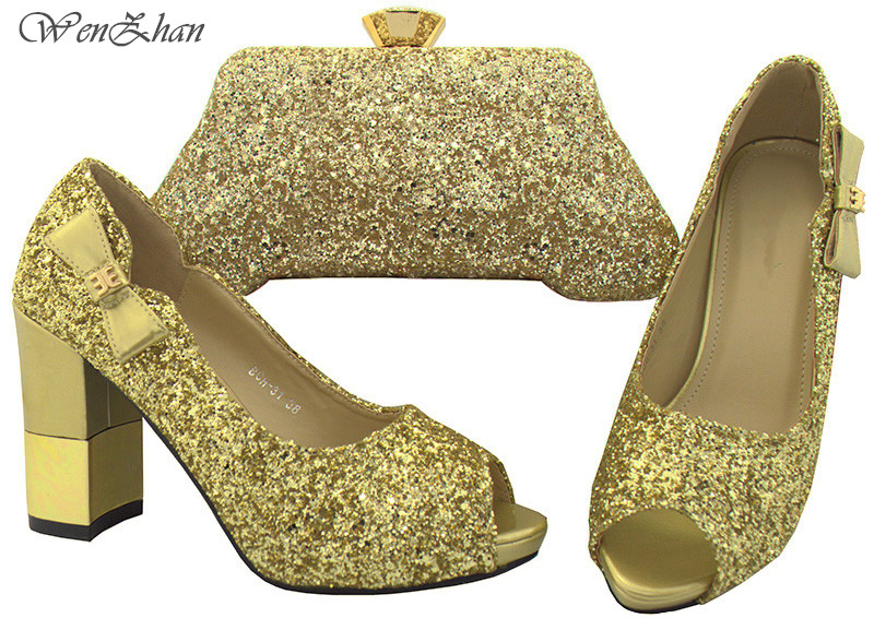 WENZHAN 2018 Attractive Gold Color Shoes With Matching Bag Set 38-42 Women Thick High Heel Shoes Bridal Wedding Shoes B712-29WENZHAN 2018 Attractive Gold Color Shoes With Matching Bag Set 38-42 Women Thick High Heel Shoes Bridal Wedding Shoes B712-29