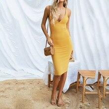 FeiTong Elegent strap midi dress Strap sleeveless back split hem zipper midi dress Slim fashion yellow autumn dress 2018 vestido