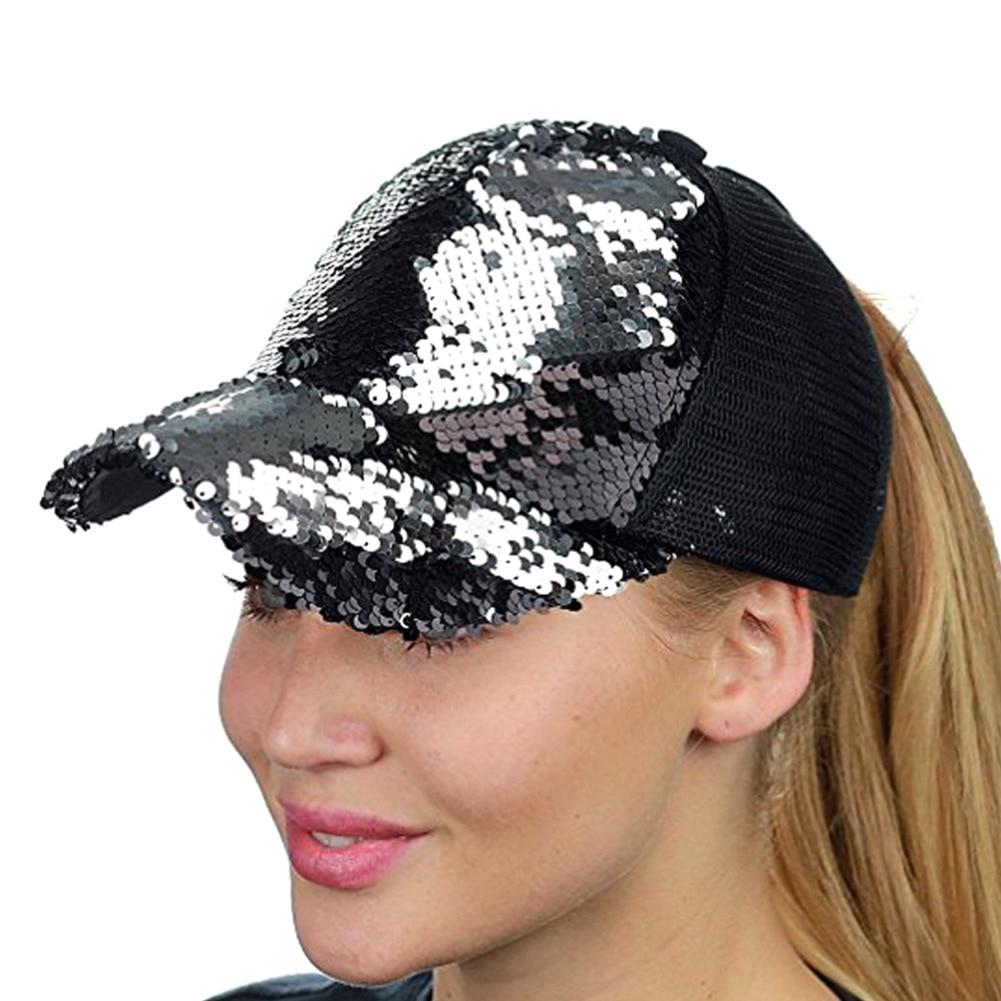 Summer Women Baseball Caps Sequins Mesh Cap Adjustable Sports Shinning Hats -MX8