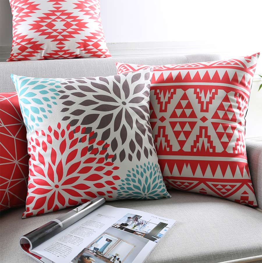 Free Shipping!Geometric red square throw pillow/almofadas case 45 53 30x50 adult teen children,modern cushion cover home decore