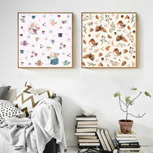 Modern Cute Cartoon Rabbit And Bird Poster Print Picture Family Wall Art Canvas Painting Walkway Children Room Decoration Custom cute women s satchel with rabbit print and canvas design