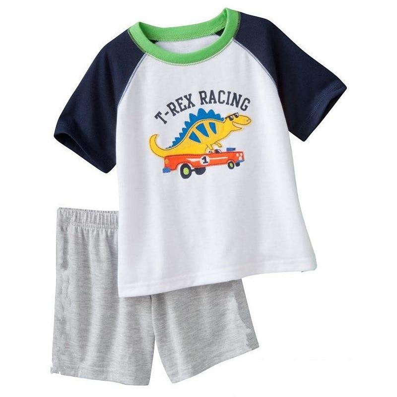 2018 Fashion Boys Pajamas Suit Summer Children Dinosaur Baby Sleepwear Baby Boy's Clothes 100% Cotton Tee shirt Short Pants Soft 3