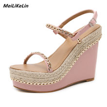 MeiLiKeLin Metal cadena mujeres cuñas sandalias tacones altos plataforma  mujeres Back Strap sandalias de paja punta 90f28bfe1c07