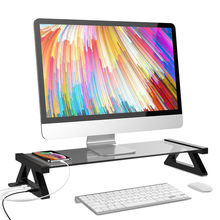 Besegad Aluminium Monitor Stand Ruimte Bar Dock Desk Riser met 4 USB Poorten voor iMac MacBook Computer Laptop Hieronder 20 Inch(China)