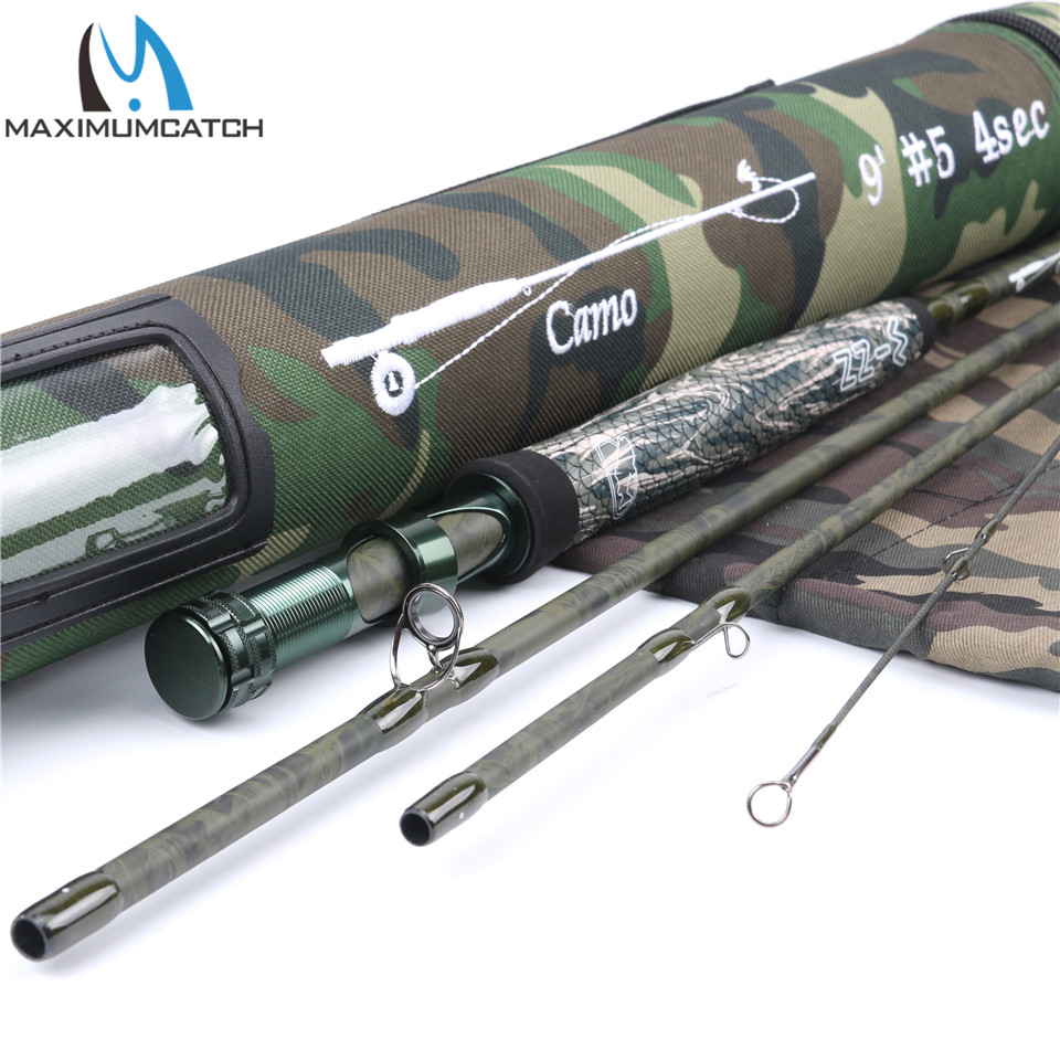 Maximumcatch 5wt 9ft 4Pcs Graphie IM10 / 36T Carbon fiber Camo Fly Rod with cordura tube maximumcatch new design travelling fly fishing rod camo traveler travel 36t sk carbon fiber 9ft 5wt 4 7pcs fly rod