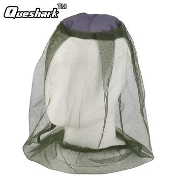 Nowy Midge moskitiera ciepła netto owad kapelusz wędkarski Bug Mesh siatka na głowę ochraniacz na twarz Camping Hedging Anti-Mosquito Cap darmowa wysyłka tanie i dobre opinie QUESHARK FF446 Stałe Parasolka Poliester