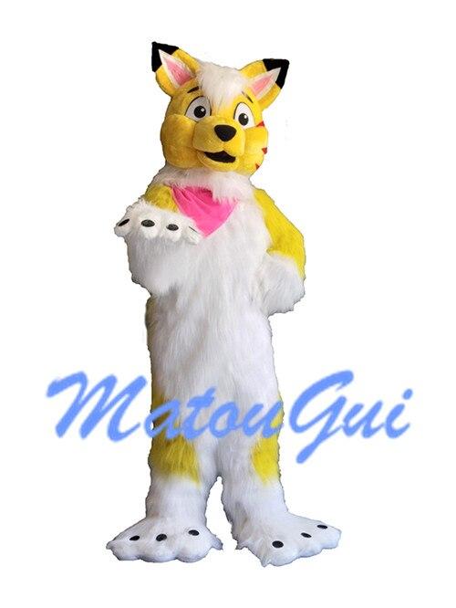 Costume de mascotte de chien Husky jaune costume de Cosplay Halloween robe de fête fantaisie