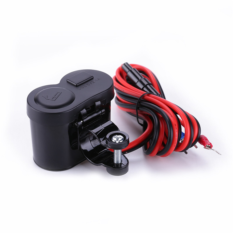 Alloet Motorcycle Scooter Handle Bar Mounted Charger Dual USB Charger For Phone + 12V / 24V Motorcycle Cigarette Lighter Socket