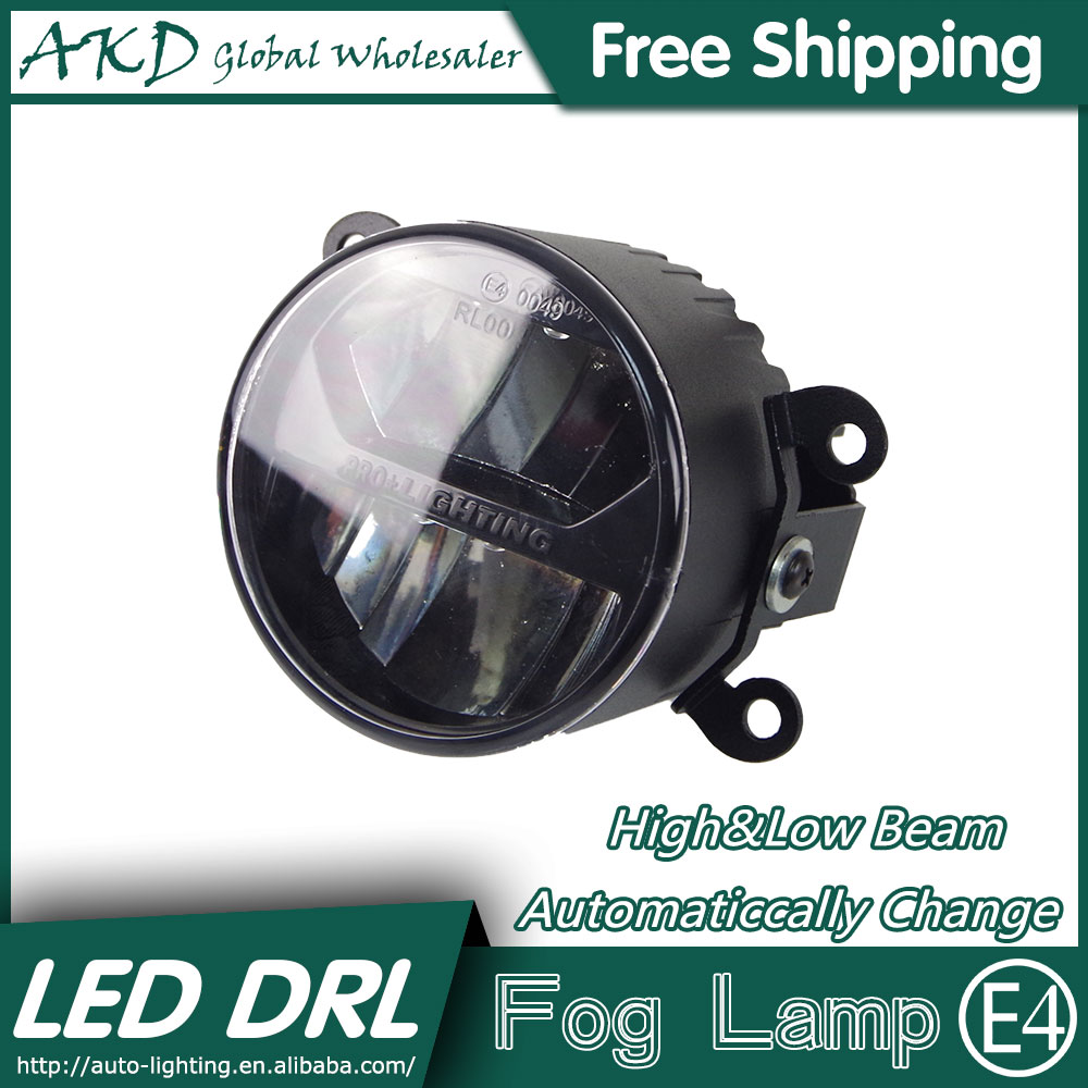 AKD Car Styling LED Fog Lamp for Ford Fiesta DRL Emark Certificate Fog Light High Low Beam Automatic Switching Fast Shipping 1 pcs diy car styling new pu leather free punch with cup holder central armrest cover case for ford 2013 fiesta part accessories