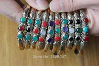 BR401 Wholesale Tibetan Jewelry Nepal 3 Color Copper Slim Open Cuff Bangle 3 Colorful Beads Girls