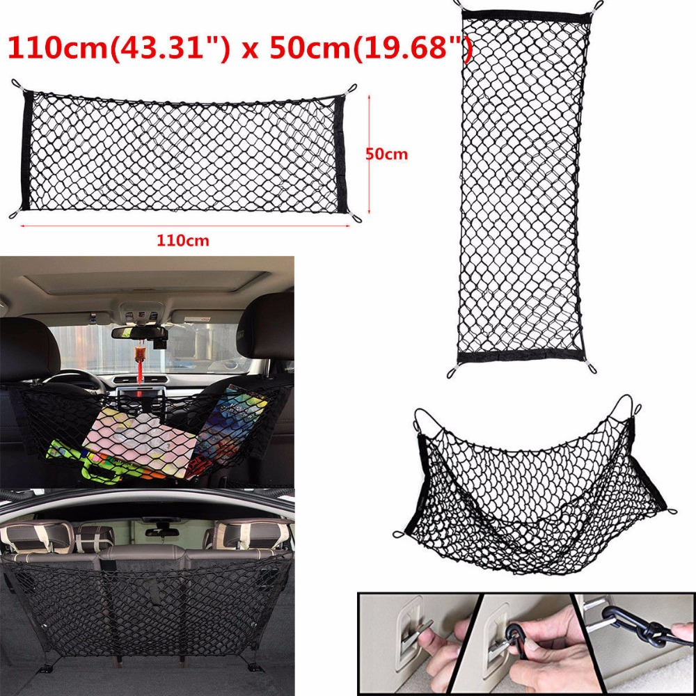 Triclicks Universal Car Trunk Rear Storage Cargo Luggage Nylon Elastic Mesh 50x110 CM Net Holder With 4 Plastic Hooks Pocket New