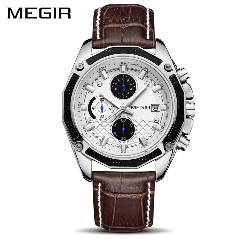 Image 3 - MEGIR Official Quartz Men Watches Fashion Genuine Leather Chronograph Watch Clock for Gentle Men Male Students Reloj Hombre 2015-in Quartz Watches from Watches
