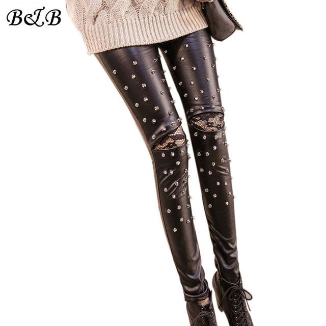 2016 New style Beading Legging Thicken Autumn Winter PU Leather pants Rivet Elastic stretch Slim woman skinny Leggings Plus size