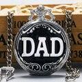 Прохладный Подарок Для Отца Серебро & Черный ПАПА Стиль Кварцевый Карманные Часы С Цепи Горячий Продавать