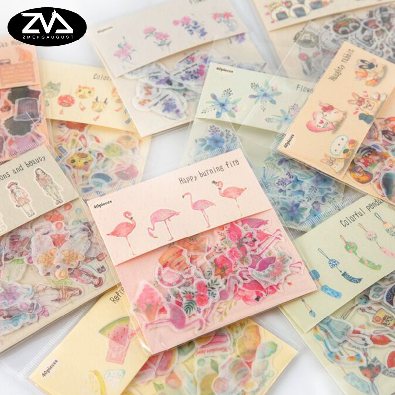 40pcs/ bag Flamingos creative Sticker child DIY toy Calendar Album Deco diary sticker scrapbooking planner sticker material cartoon animal sticker toy owl giraffe print kids toy sticker cute diary book scrapbooking calendar album deco sticker 1 sheet