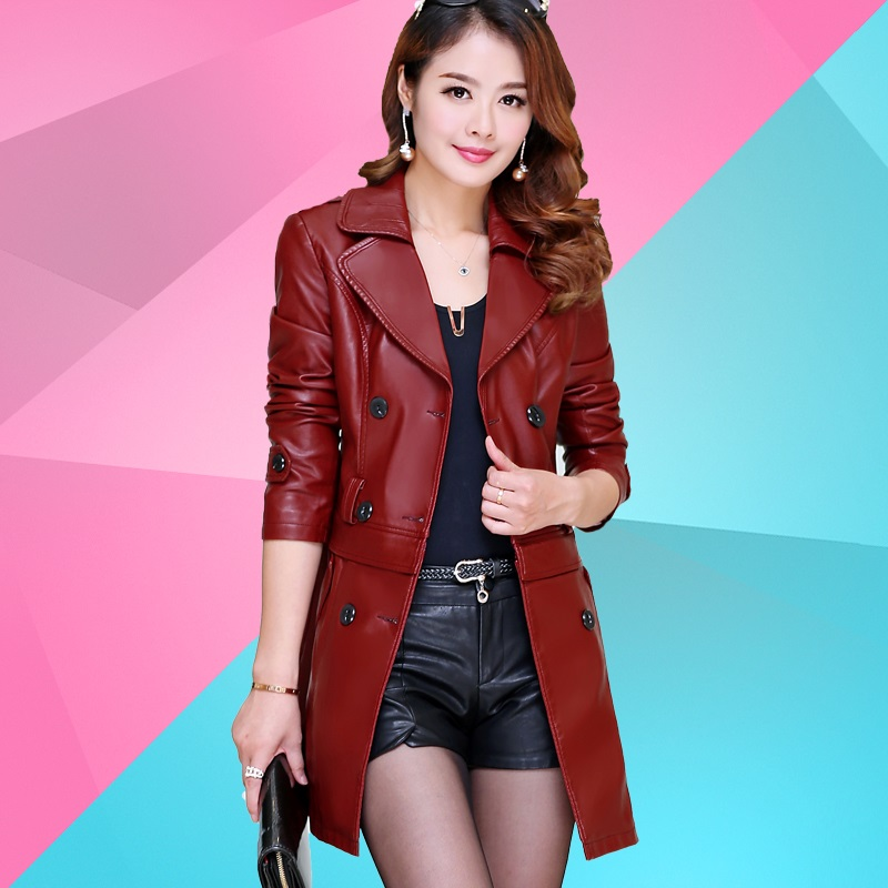 Spring and autumn new charm temperament women's slim body dual-use PU   leather   windbreaker large size motorcycle jacket JQ64