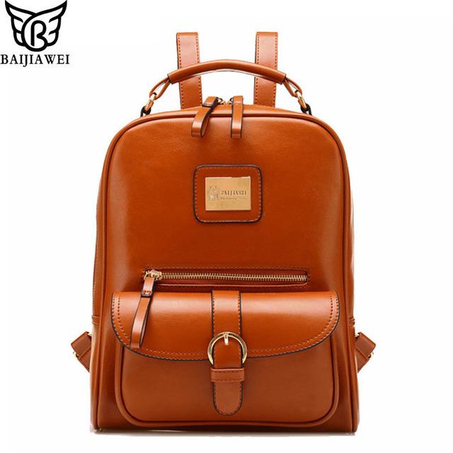 Baijiawei diseño cuero de la pu de las mujeres mochila informal bolsas de la escuela para adolescentes chicas traveling back packs hombros femeninos bolsas