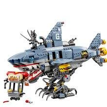 ФОТО 929pcs diy compatible with legoingly ninjagoes movie garmadon shark model educational building blocks bricks toys for children