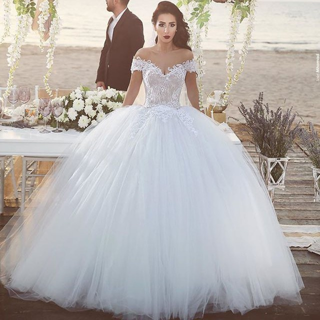Ball Gown Short Sleeve Bride Muslim Wedding Dresses Lace Up Lace ...