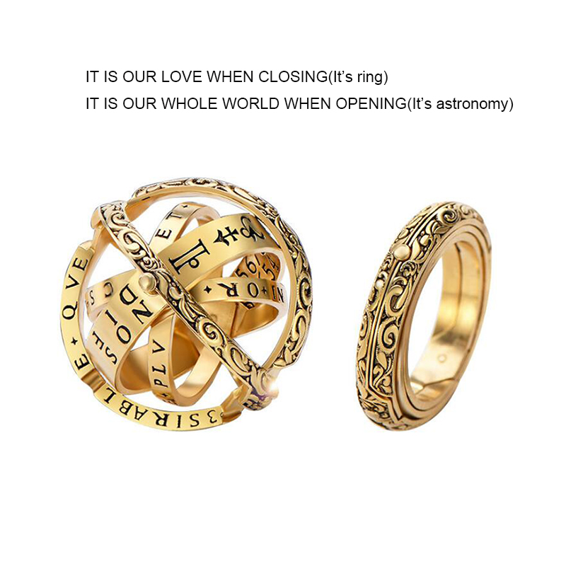 Astronomy Ball Ring Copper Antique Gold/Antique Silver Plated Top Selling Vintage for Women Men New Jewelry