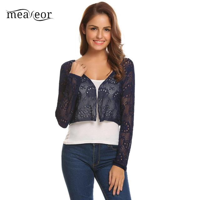 2df8fa8c0e Meaneor Sexy Front Open Floral Women Shrug Cardigans Casual Autumn Short  Knit Cardigan Hollow Out O-Neck Women Tops Outwear