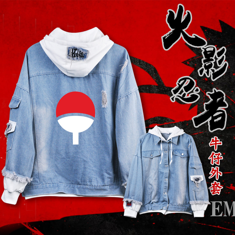 Anime Jeans Coat Naruto OVERLORD My Hero Academia Women Men Casual Jacket Autumn Hooded Sweatshirt Denim Tops Unisex Outwear