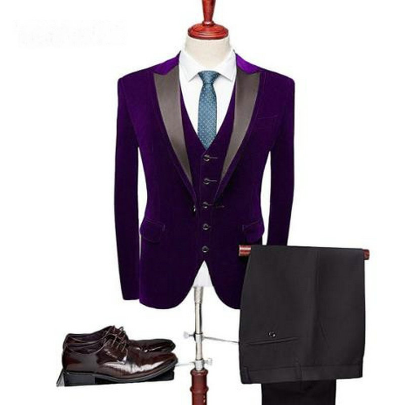 2019 Fashion Groomsmen Groom Tuxedos Peaked Lapel Purple Velvet Male Jacket Wedding Prom Party Suits Best Man Blazer Masculino