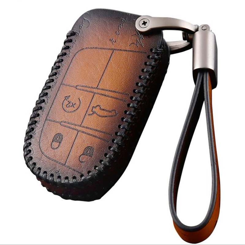 Car Style Fashion Genuine Leather Car Key Cover For Fiat   For Jeep Renegade 2014 2015 Grand Cherokee Chrysler 300C Key cases