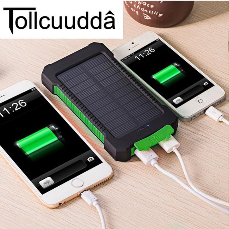 imágenes para Tollcuudda 10000 Mah Powerbank Cargador Solar Dual USB Banco de la Energía Banco de la Energía Solar A Prueba de agua para iPhone 6 Más Móvil