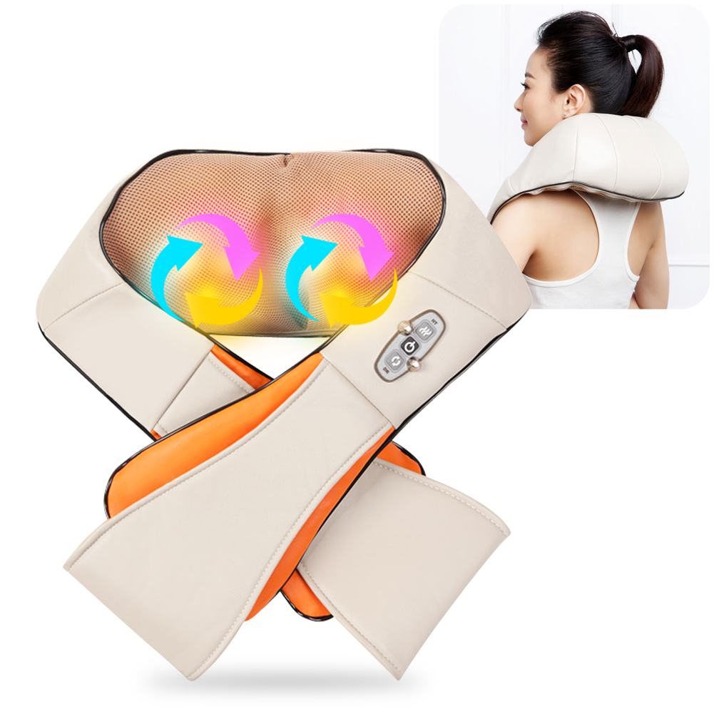 U Shape Electrical Shiatsu Back Neck Shoulder Massager Body Infrared 3D Kneading Massager EU plug Flat Plug Car Home Dual Use car home dual use massager u shape electric shiatsu back neck shoulder body massager infrared 4d kneading massage body relax