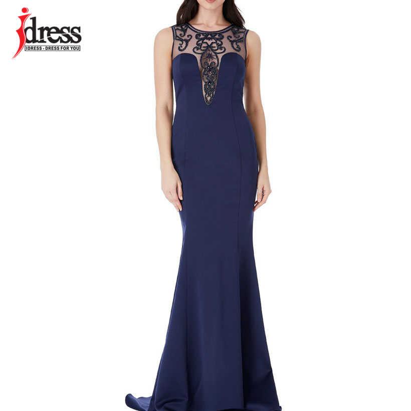 73c737ec88f7f IDress Elegant Embroidery Beading Summer Dress Bodycon Backless Evening  Maxi Dress Ladies Wedding Party Dress Vestidos Verano