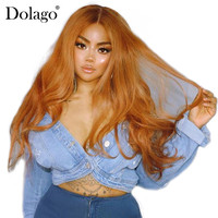 Colorful Lace Front Human Hair Wigs Pre Plucked With Baby Hair #27 Brazilian Straight Lace Wig 250% Density Dolago Remy Hair