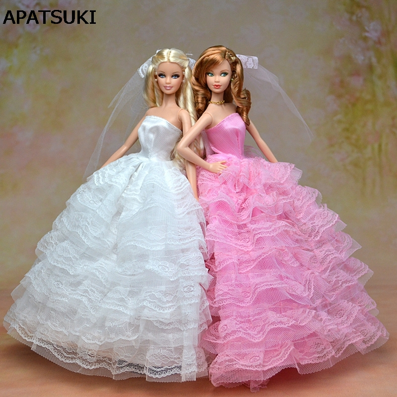 ᑎ‰High Quality Elegant Wedding Dress For Barbie Dolls Party Dress + ...