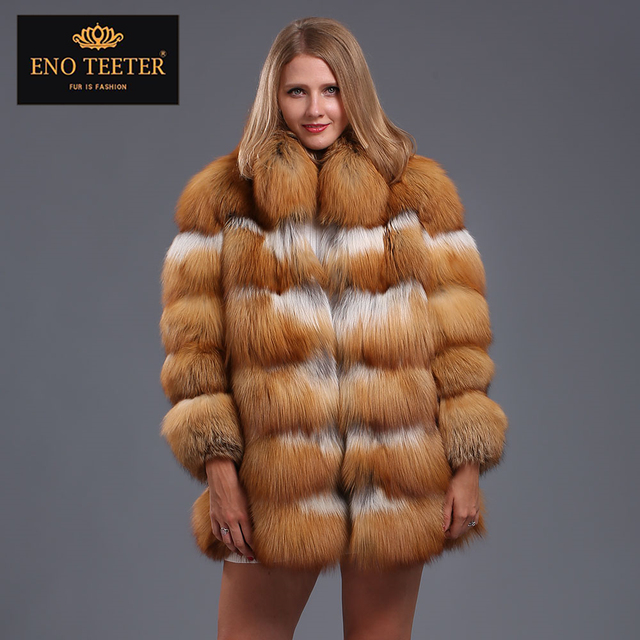 c8c86403dd Women Red Fox Fur Coat Autumn Winter Single Breasted Thick Full Pelt Nature Real  Fur Coat