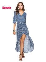Keewin Boho Women Long Dress Women's hot sale Bohemian Print new Dress beach Ropa de verano para mujeres Dresses women