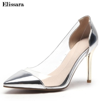 Women High Heels Pumps Shoes Woman Sexy Glitter Pointed Toe Crystal Clear Wedding Silver Heels Pumps Shoes Size 33 47 Elissara