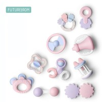 FUTUREMORE Newborn Baby Toy Set Boy Girl Birth Gift Hand Shake Bell Rattle Toys Kids 0 12 Months Teether Toys Hand Shaking Ring