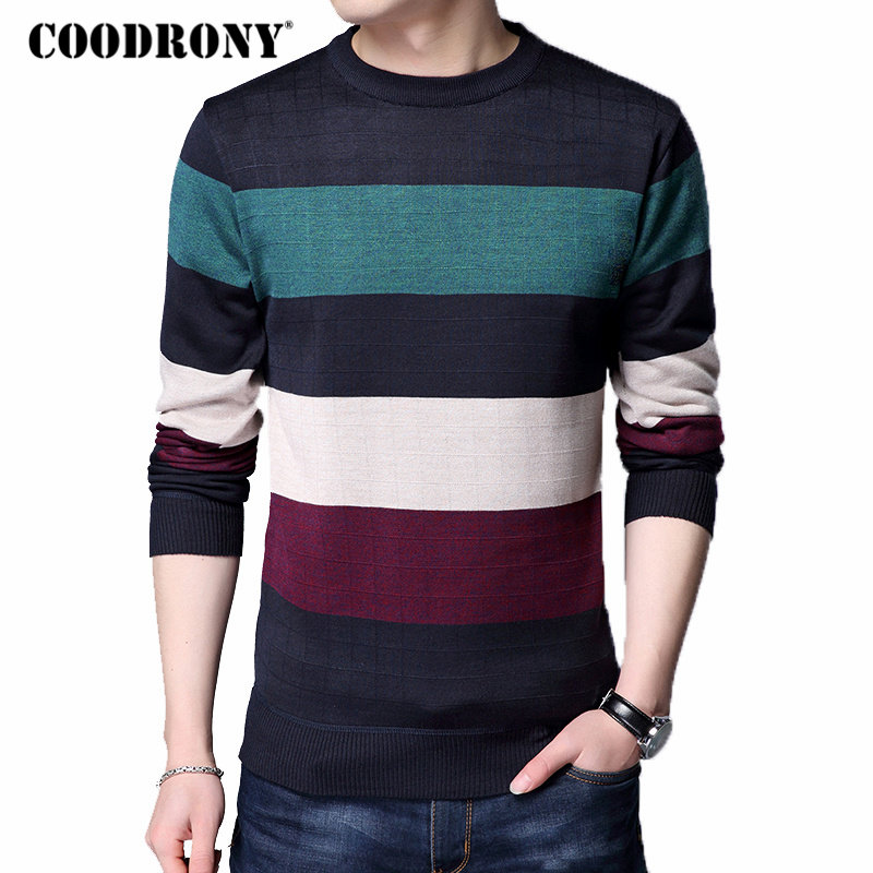 COODRONY Wool Pullover Sweaters O-Neck Autumn Striped Winter Casual Plus-Size Cotton