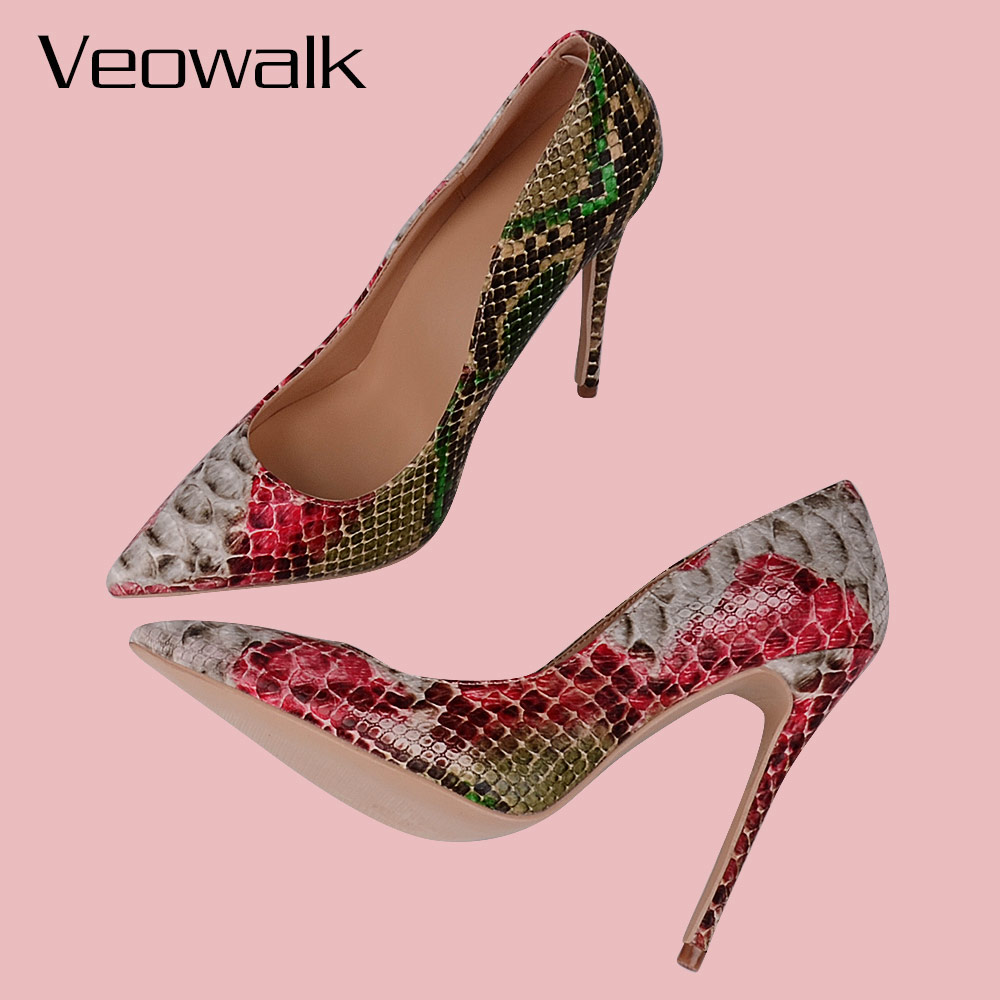 fd87da5f9f Veowalk Snake Printed Leather Women Sexy Green And Red High Heels 12/10/8CM  Stiletto Pointed Toe Slip on Pumps Party Shoes