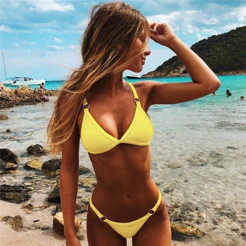 Women Sexy Brazilian Swimsuit Solid Low Waist Swimwear Bikini Set Summer Yellow Bathing Suit Female Beach Wear Biquini