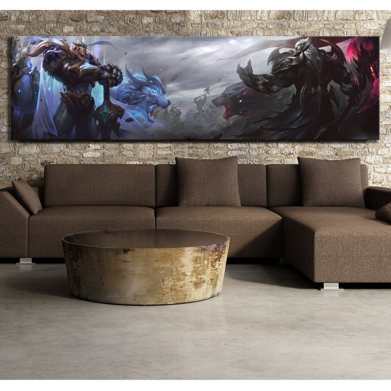 1 Piece Canvas Poster League of Legends Garen and Darius God King Skin Video Game Poster HD Wall Painting for Home Decor 1