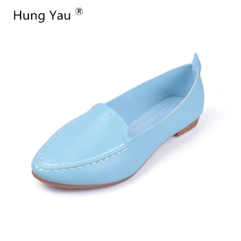 Women Flats 2018 New Summer Style Casual Solid Pointed Toe Slip-On Flat Shoes Soft Comfortable Women Shoes Plus Size 35-40