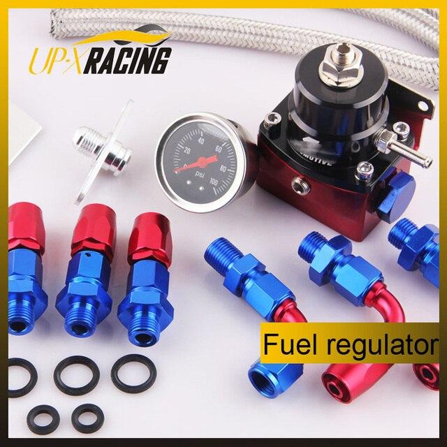 high quality Adjustable Fuel Pressure Regulator + Gauge Kit FIT FOR CIVIC DSM STI GTI EVO r+k