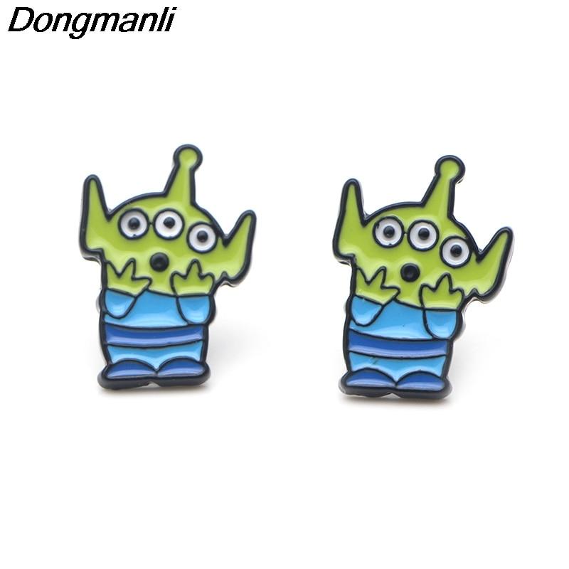 P3710 Wholesale 20pcs lot Alien Stud Earrings For Womens Enamel Stainless Steel Pierce Korea Earrings Jewelry